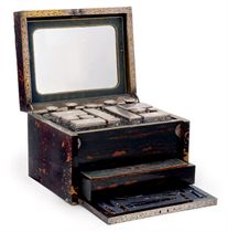 A  VICTORIAN SILVER-MOUNTED TRAVELLING DRESSING TABLE SET