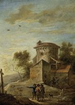 Travelers in a landscape