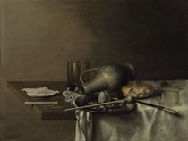 An overturned stoneware jug, roll, plate with pipe and an egg shell, broken glass and other objects on a draped table
