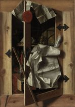 A trompe l'oeil still life with objects in a cupboard