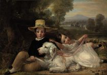Portrait of two children, full-length seated, with a dog