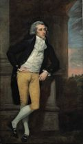 Portrait of a young gentleman, standing full-length, wearing a blue coat, leaning on a pillar, a landscape beyond