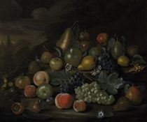 Still life of pears, peaches, apples, plums, grapes, hazelnuts, and flowers on a bank