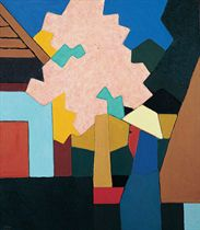 Woman under the pink tree