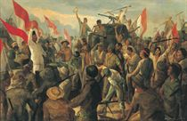 Sketch of Bung Karno amidst Revolutionary Fighters