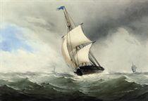 A trading brig in a stiff breeze