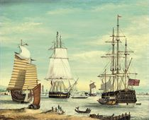 The East Indiaman Waterloo, a frigate and deep water junks lying at anchor (illustrated); and Tea clippers neck and neck
