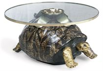 AN ANTHONY REDMILE NOVELTY PAINTED COMPOSITION AND GLASS TABLE