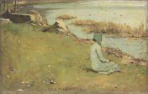 Jeune fille au bord de la riviere