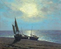 Boats on a moonlit beach