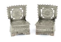 A SMALL PAIR OF RUSSIAN SILVER THRONE SALTS