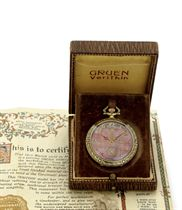 GRUEN.  A RARE 14K GOLD, ENAMEL AND MOTHER-OF-PEARL OPENFACE KEYLESS LEVER MASONIC DRESS WATCH WITH ORIGINAL PRESENTATION BOX AND CERTIFICATE