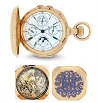 MEYLAN.  A VERY FINE 18K PINK GOLD AND ENAMEL HUNTER CASE MINUTE REPEATING PERPETUAL CALENDAR SPLIT-SECONDS CHRONOGRAPH KEYLESS LEVER WATCH WITH AMERICAN CASE