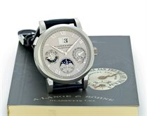 A. LANGE & SÖHNE. A FINE AND RARE PLATINUM AUTOMATIC PERPETUAL CALENDAR WRISTWATCH WITH MOON PHASES