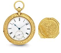 GERTH. A FINE AND UNUSUAL 18K GOLD CABRIOLET OPENFACE PAIR CASED POCKET CHRONOMETER