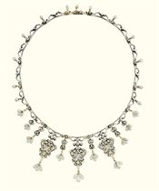 A RENAISSANCE-REVIVAL GOLD, DIAMOND, PEARL AND ENAMEL NECKLACE, BY CARLO GIULIANO