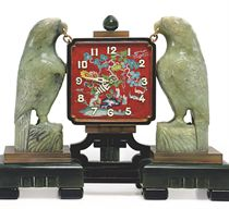 AN ART DECO NEPHRITE, CHALCEDONY AND ENAMEL DESK CLOCK, BY OSTERTAG