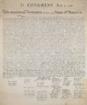 [DECLARATION OF INDEPENDENCE] In Congress, July 4, 1776 The