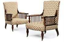 A MORRIS & CO. PAIR OF ARTS & CRAFTS MAHOGANY AND UPHOLSTERD 'SAVILLE' ARMCHAIRS DESIGNED BY GEORGE JACK