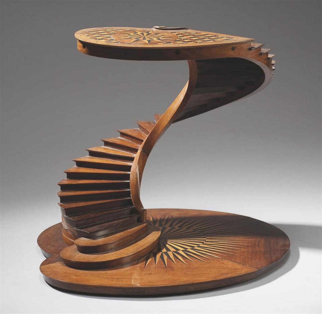 escalier de maitrise en ebene palissandre de rio et bois fruitier france premiere moitie du. Black Bedroom Furniture Sets. Home Design Ideas