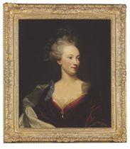 Portrait of a lady, bust-length, in a crimson dress
