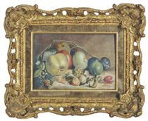 Apples, plums, rosehips and a briar on a ledge