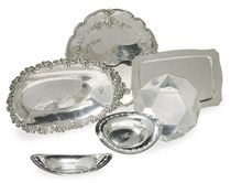 SIX AMERICAN SILVER SERVING DISHES,