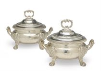 TWO SIMILAR GEORGIAN STYLE SILVER SAUCE TUREENS AND COVERS,