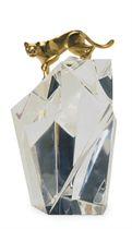 AN AMERICAN GLASS AND VERMEIL SCULPTURE 'PUMA ROCK',