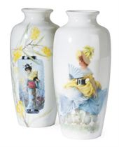 A PAIR OF SMALL FRENCH PORCELAIN BALUSTER VASES PAINTED WITH BEAUTIES,