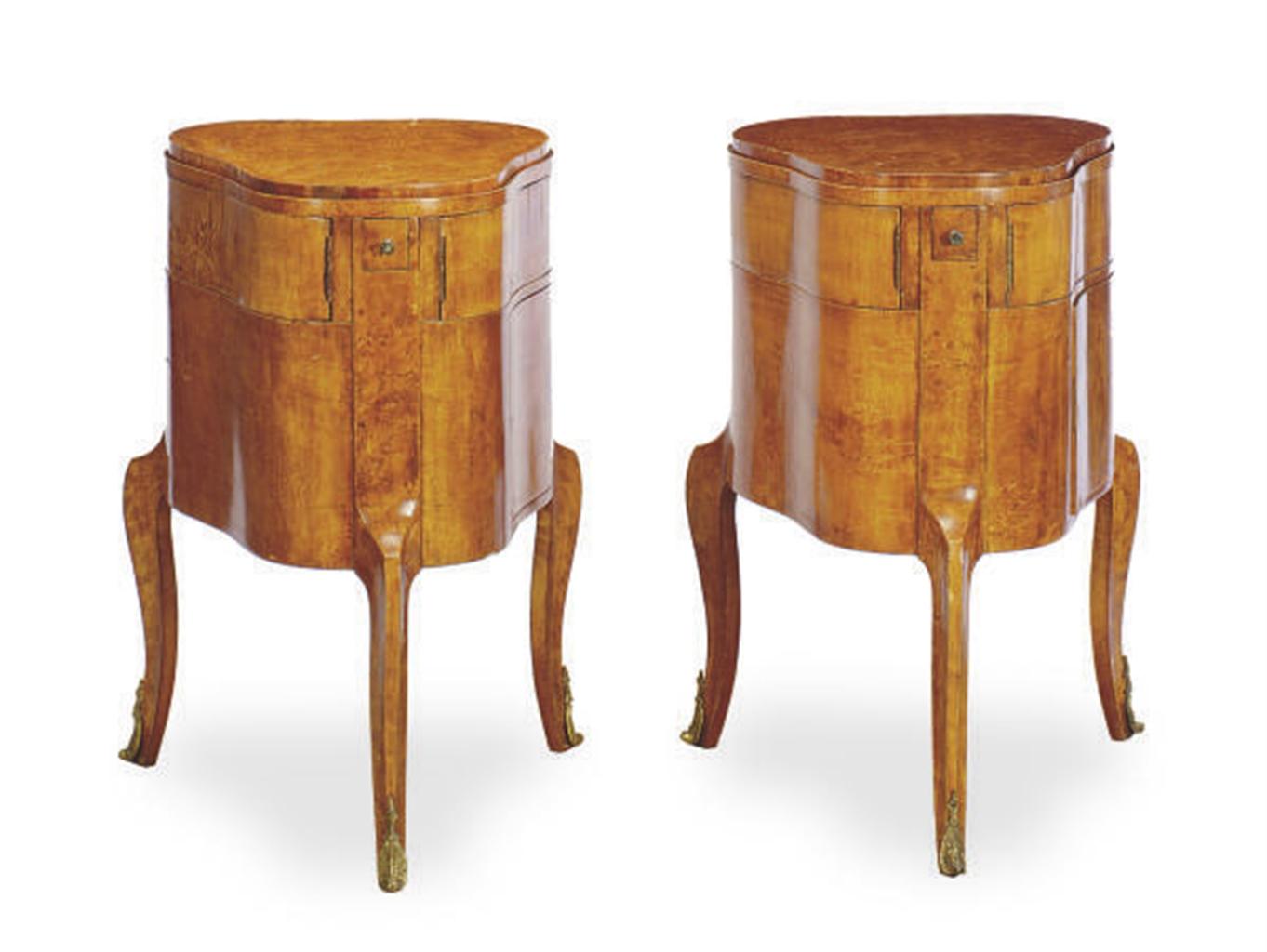 A Pair Biedermeier Style Karelian Birch Pear Form Dressing Tables 20th Century Furniture