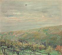 Landschaft mit fliegendem Vogel (Blick ins Leinsweiler Tal im Herbst)