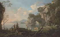 A coastal landscape with a natural arch, fishermen in the foreground