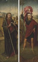 The wings of a triptych: Saint Christopher; and Saint James the Greater