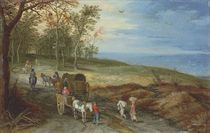 A wooded landscape with peasants and horse carriages on a path