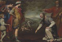 Consul Gaius Popillius drawing a circle around King Antiochus IV