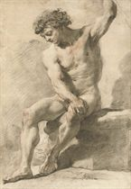 A seated academic male nude, his left arm raised