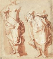 Two draped female figures, standing