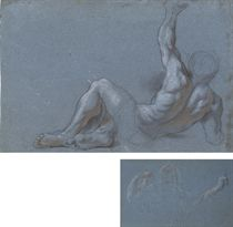 A reclining male nude, his left arm raised (recto); Studies of the head of a woman wearing a veil and of a left hand holding a staff (verso)