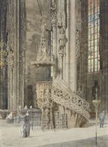 A church interior with a Gothic pulpit