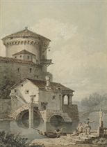 An Italianate building with figures in the foreground