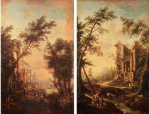 Un enfant jouant de la flûte et des enfants dansant devant des ruines; et Promeneurs et enfants au bord d'un ruisseau et de ruines