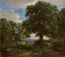 Paysan priant au pied d'un grand arbre, un paysage boisé à l'arrière-plan