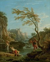 Un pêcheur et des lavandières dans un paysage