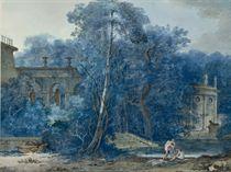 Paysage avec des ruines antiques, des femmes se baignant dans un lac au premier plan