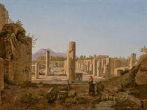 Couple de bergers avec des agneaux devant les ruines de Pompéi