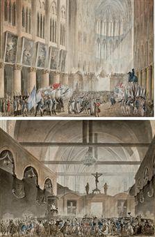Bénédiction des drapeaux à Notre-Dame ; et Monsieur et Madame de La Fayette faisant la quête pour le soulagement des veuves des citoyens, dans l'église du Sépulcre à Paris