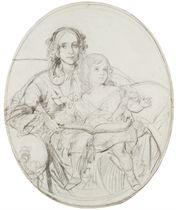 Portrait de la femme de l'artiste et de sa fille