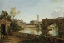 A view on the Tiber looking towards the Palantine Hill with Santa Maria in Cosmedin and the Temple of Vesta