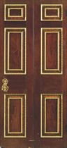 A GEORGE II MAHOGANY, PARCEL-GILT AND PAINTED DOOR FROM SPEN